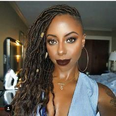 Image result for Goddess faux locs with shaved sides #Naturalhairstyles