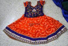 Orange Blue Jute Net Lehenga | Indian Dresses