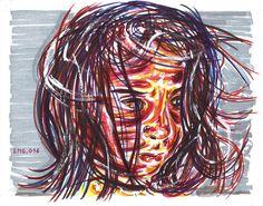 """""""Al mare"""", watercolor marking pen, 140lb/300gsm - 28x35.6cm paper, 2016 author: ernesto maria giuffre"""