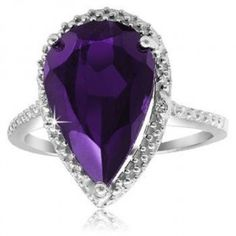 5-Carat Genuine Amethyst Pear-Shaped Ring - Assorted Sizes