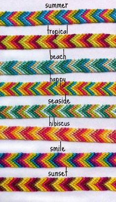 Colorful Chevron Friendship Bracelets (limited time) Rainbow Ombre Chevron Friendship BraceletsSummer is the perfect time to wear colorful clothes…Summer Bracelets / Beaded Bracelets with Words / DIY…Chevron bracelet. Diy Bracelets Easy, Thread Bracelets, Summer Bracelets, Bracelet Crafts, Beaded Bracelets, String Bracelets, Homemade Bracelets, Diy Embroidery Bracelets, Colorful Bracelets