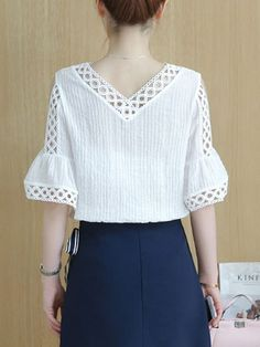 Buy Open Shoulder Hollow Out Plain Bell Sleeve Blouse online with cheap prices and discover fashion Blouses at Fashionmia.com.