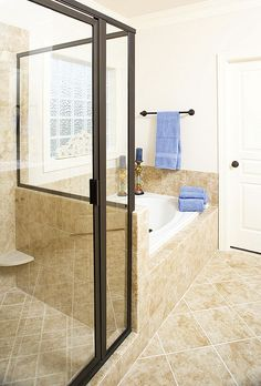 Master bath with walk-in shower and large bath tub. The Dayton - Plan 1008. http://www.dongardner.com/plan_details.aspx?pid=2694. #Master #Bathroom #Design