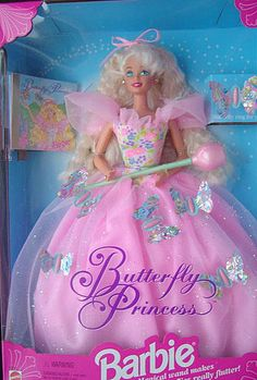 I wanted this barbie when i was little, the rose wand would make the butterflies wings on her dress flutter. 90s Toys, Barbie Toys, Barbie I, Barbie World, Barbie Stuff, Childhood Memories 90s, Childhood Toys, Vintage Barbie, Vintage Dolls