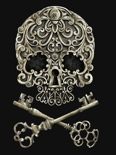 Keys & Locks: Skulls and (Tom) I like this one as it uses the keys as the bones in a classic skull and bones format while the nose of the skull is the lock which shows a unity between all aspects of the picture. IGNORE THE FLORAL STUFF Crane, Tattoo Liebe, Typographie Inspiration, Totenkopf Tattoos, Neue Tattoos, Geniale Tattoos, Skull Tattoos, Ring Tattoos, Tatoos