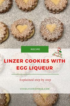 Linzer cookies filled with homemade advocaat egg liqueur ganache! Another great way to use up leftover egg yolk! #eggliqueur #linzercookies #buttercookies #homemade #cookierecipe #nutfree Nut Free Cookies, Cut Out Cookies, Linzer Cookies, Jam Cookies, Cookie Recipes, Sweets Recipes, Drink Recipes, Easy Recipes, Easy Homemade Cookies