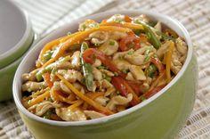Iscas de frango e vegetais.  http://www.cinthyamaggi.com.br/blog/o-que-e-a-dieta-ravena