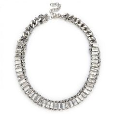wrapped crystal statement necklace - Silver