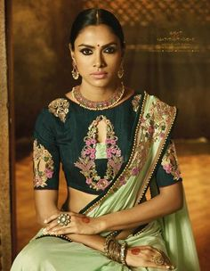 Pista Green Colored Silk Heavy Embroidered Blouse with Embroidered Lace Border Saree Simple Sarees, Trendy Sarees, Bridal Blouse Designs, Saree Blouse Designs, Sari Blouse, Sari Shop, South Indian Sarees, Indian Look, Designer Blouse Patterns