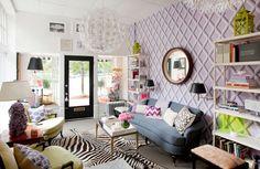 Liz Caan's design studio - so many inspiring ideas! color combos, accent furniture, wallpaper, chandies, accessories, etc.