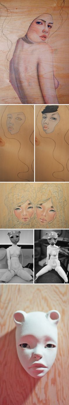 i'm jealous of lauren brevner  Love the drawings on wood!