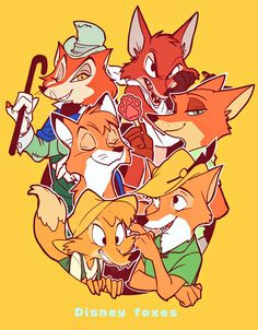 Al Foxes of Disney Disney Kunst, Arte Disney, Disney Fan Art, Disney Love, Disney Magic, Cartoon Crossovers, Disney Crossovers, Star Fox, Disney And Dreamworks