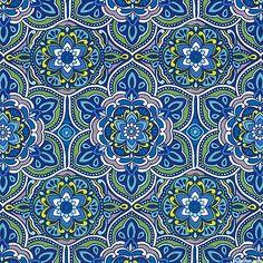 eQuilter Medallion - Flower Dazzle Tiles - Midnight Blue