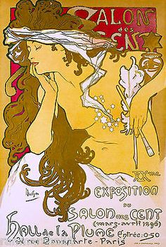 Salon-des-Cent-Mucha-French-Nouveau-France-Vintage-Advertisement-Art-Poster