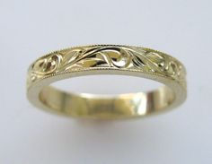 3mm Hand Engraved Wedding/Anniversary Band Vine by NathanJewelers