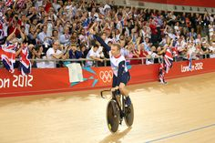 Chris Hoy celebrating with the crowd at London 2012