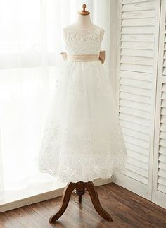 A-Line/Princess Scoop Neck Ankle-length Sash Bow(s) Satin Tulle Lace Sleeveless Flower Girl Dress Flower Girl Dress