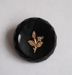 Victorian Black Onyx Gold & Seed Pearl Mourning Brooch