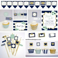 Navy Gold Mint to Be Bridal Shower Decoration Party Pack Cupcake Wrappers Toppers Bunting Banner Mini Flags Water Bottle Labels Table Tents