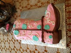Beautiful pink, brown, and turquoise cowgirl cake