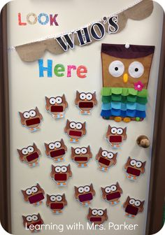 Great for the beginning of the year. I have the flag and owls! Kindergarten Art Activities, Kindergarten First Day, Kindergarten Activities, Preschool Bulletin Boards, Kindergarten Classroom, Bullentin Boards, Owl Theme Classroom, Classroom Door, Classroom Attendance