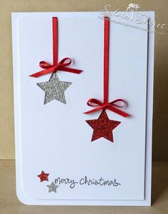 This holiday season hand out these DIY Christmas Cards to your loved ones and tell them how much you care. These Handmade Christmas cards are easy & cheap. Homemade Christmas Cards, Christmas Cards To Make, Christmas Greetings, Simple Christmas, Homemade Cards, Holiday Cards, Merry Christmas, Christmas Star, Diy Christmas Cards Stampin Up