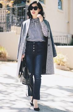 10.15 great weekend (J Crew 'regent' topcoat in grey donegal wool + Ann Taylor bow tie button-down shirt + J Crew 'point sur' vintage cropped jeans + Gucci pumps + DVF 'the secret agent' bag)