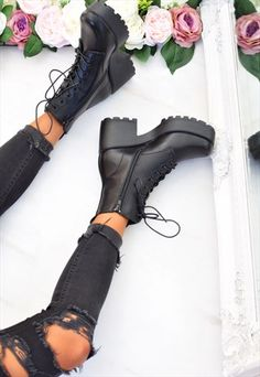 Chunky Platform Lace Up Biker Boots Black High Heel Boots, Heeled Boots, Shoe Boots, Shoes Heels, Pretty Shoes, Cute Shoes, Me Too Shoes, Goth Boots, Biker Boots