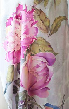 Peonías de mantón de seda pañuelo de seda con aves y las