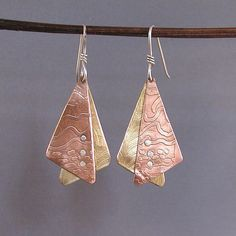 Mixed Metals Earrings Etched bronze copper and by Duffydesigns on Etsy...