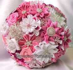 Wedding bouquet of fabric Celestine - the perfect bridal bouquet for delicate brides. The model is presented in a pink-and-white. The bouquet consists of