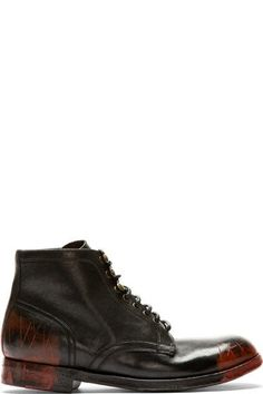 Dolce & Gabbana: Black & Red Smudges & Distressed Combat Boots