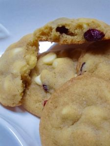 Soft buttery cookie studded with chocolate chips and cranberries. Easy to make and impossible to only eat one!