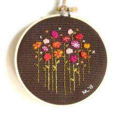Wildflower Embroidery Hoop / Repurposed Felt by ThePennyRunner, $35.00