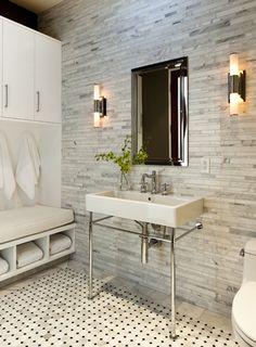 Gordon Gibson Construction - bathrooms - luxurious bathroom, master bathroom, linear marble tile, linear marble tile backsplash, linear marb...