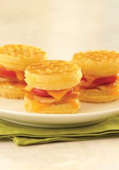 Use Eggo mini waffles to create this Grilled Canadian Bacon, Tomato and Cheese Sandwich recipe for a quick lunch served up in a fun fashion.