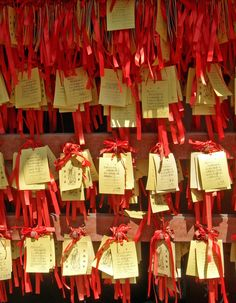 Wishes at the Confucian Temple in Shanghai, China ready to be tied to the wishing tree