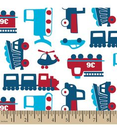 Transportation Blue  / Red Snuggle Flannel by dawnstreasures