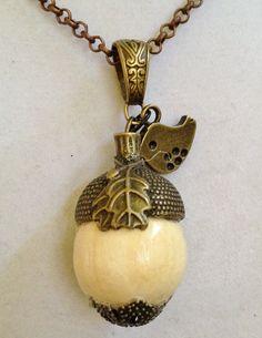 Acorn Necklace by joytoyou41 on Etsy, $30.00