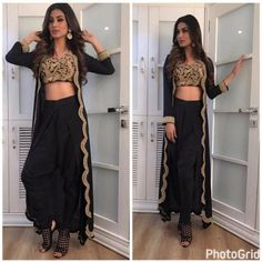 Mouni Roy looks so stunning in black Indian Attire, Indian Wear, Indian Designer Outfits, Designer Dresses, Mouni Roy Dresses, Stylish Dresses, Fashion Dresses, Moda Indiana, Churidar