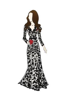 """Duchess of Cambridge Kate Middleton Fashion Gown Print 8.5""""x11"""" Temperley London Amoret Lace Gown"""
