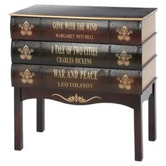 Cabinet drawers made to look like giant, classic books. Cool!
