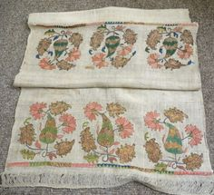 "Antique 19C Ottoman Turkish ""towel"". Silk on cotton gauze with what appears to be copper wrapped thread. Note the interesting pattern which is woven into the plain ground. Condition is good and  ..."