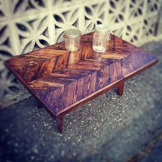$280.00 Herringbone Pallet Coffee Table | JS Reclaimed Wood Furniture--maybe dad could make this or at least help me make something like this