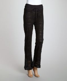 Look what I found on #zulily! Black Lace Drawstring Straight-Leg Pants - Women by Cute Options #zulilyfinds