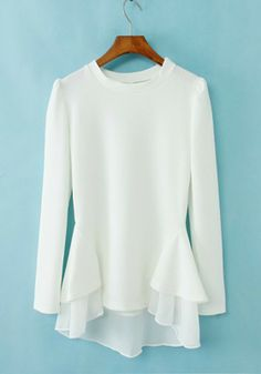 $29 White Plain Irregular Puff Sleeve Cotton Blend Dress