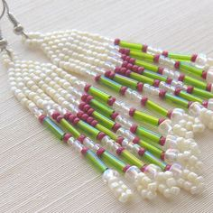 Native American beaded earrings  seed bead by southwinddesign, $25.00