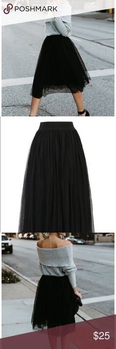 Black mid tulle skirt Brand new never worn. Polyester. Elastic waist. Unfortunately, doesn't fit me. Mid length. Super cute. Skirts Midi