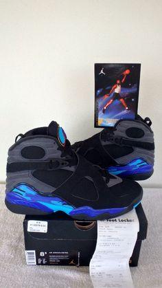 8 NIKE AIR JORDAN MEN RETRO VIII AQUA RED 3 CONCORD 13 PURPLE GS BLACK SZ 8.5  #Nike #BasketballShoes