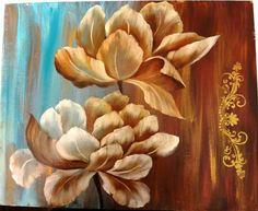 Flores en acrilico y color tierra!!!!!